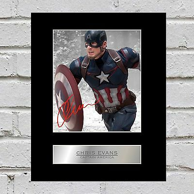 Chris Evans Signed Mounted Photo Display Captain America