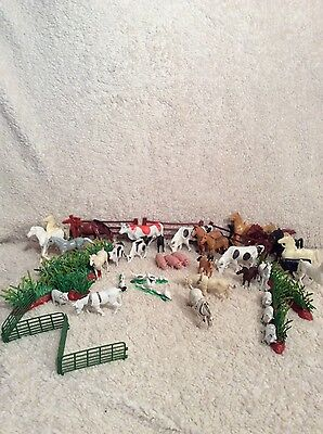 Assorted Lot of Plastic Farm Animals - Horse Pig Cow Chickens Ducks Sheep Fence