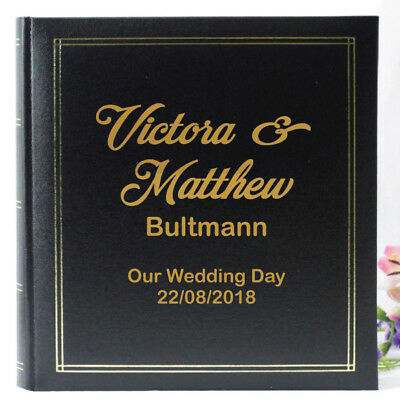 Personalised Wedding Photo Album - Black - Add a Name & Message