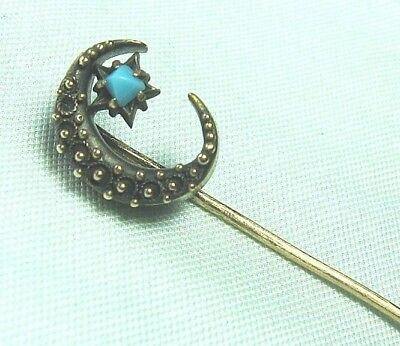 """Victorian 14K Yellow Gold Stick Pin w Turquoise 1.4 grams  2 1/4"""" long"""
