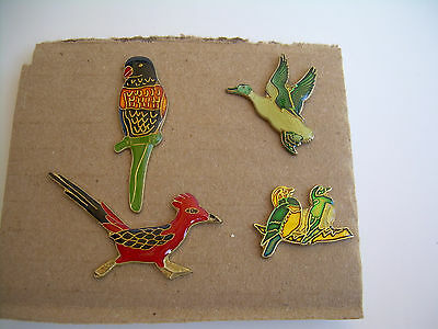 Parrot Roadrunner Duck Love Birds Pins from the 80's Vintage