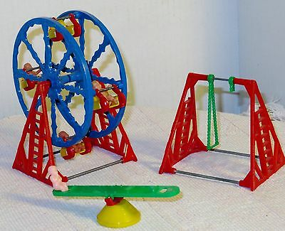 Dollhouse Ferris Wheel, Teeter-Todder with 4 Babies, Swingset AS IS DH6129828