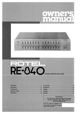 rotel re 500 equalizer owners instruction manual 18 99 picclick rh picclick com Rotel Audio Rotel Ingredients Label