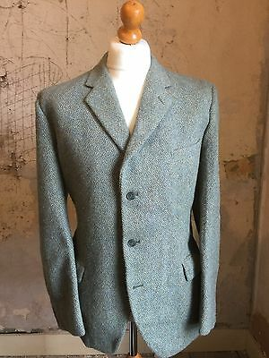 Mens Vintage Green Checked 1930's 40's Tweed Suit Size 42 Long
