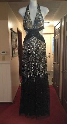 Jovani Prom Gown Black And Silver Multi Sequin Size 0