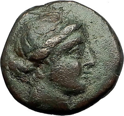 KYME in Aeolis 250BC Authentic Ancient Greek Coin AMAZON w HORSE & VASE i59416