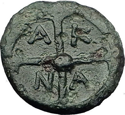 AKANTHOS in MACEDONIA 400BC Athena Wheel Authentic Ancient Greek Coin i59420