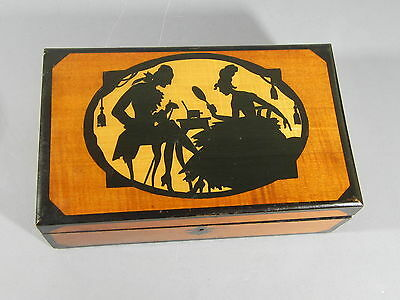 Great ART DECO Satinwood & Painted Wooden Box w/ Courting Scene on Top