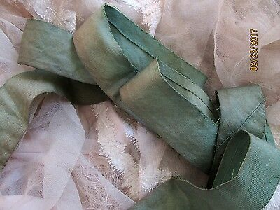 "ANTIQUE VICTORIAN AUTHENTIC COTTON BIAS RIBBON TRIM GREEN GREAT PATINA  57""x1.25"