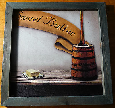 SWEET BUTTER Primitive Country Churn Painting Print Kitchen Sign Home Decor NEW