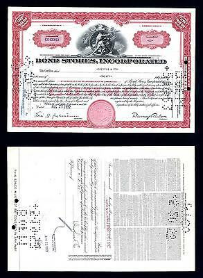 Bond Stores 20 Share Common Stock issued 1952 - Lot # 14