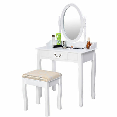 Vanity Table Jewelry Makeup Desk Bench Dresser w/ Stool Drawer White New