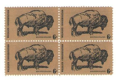 Wildlife Conservation: Buffalo 45 Year Old Mint Vintage Stamp Block from 1970