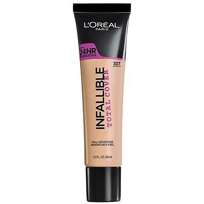 LOREAL Infallible Total Cover 24HR Foundation SAND BEIGE 307 NEW