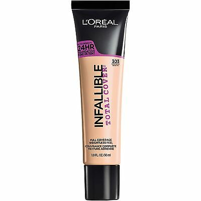 LOREAL Infallible Total Cover 24HR Foundation NUDE BEIGE 303 NEW