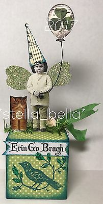 St Patrick's Day Fairy Cat Altered Art vtg Ooak Collage Handcrafted Mixed Media