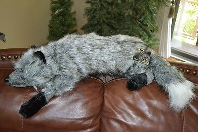 Silver Fox Stuffed Plush Animal Lap Hug Ditz Designs NEW