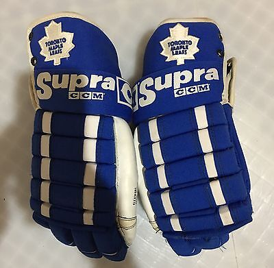 Ccm Pro Stock Maple Leafs Hockey Gloves Made In Canada Vintage