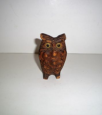 Vintage~Cryptomeria Wood~Old Glass Eyes~Owl~ Carved Statue