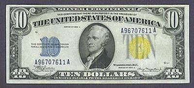 "$10 1934A Yellow Seal NORTH AFRICA ""CRISP/CLEAN AU"" Silver Certificate!"