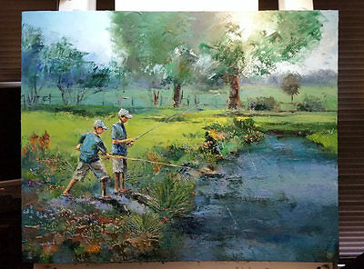 'Catching Lunch' Original Large Oil Painting on Canvas by Dusan River Fishing