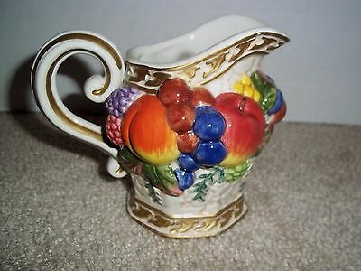 "Fitz and Floyd Fruit Majolica Style 4"" Pitcher"