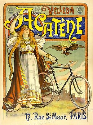 Acatene Bicycles 1890's Paris Cycling Advertising Poster - 20x28