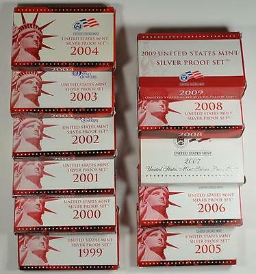 Complete Run Us Mint Silver Proof Sets Dated 1999 To 2009