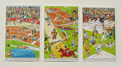 OLYMPIC FUN set of 3 Postcards Coca-Cola Whimsical Art Sports Events Unused