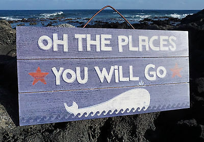 OH THE PLACES YOU WILL GO Tropical Beach Wood Plank Home Decor Whale Sign NEW