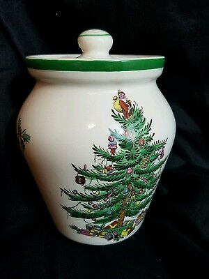 "Spode Christmas Tree Storage 5"" JAR or CANISTER w/cover~Made in ENGLAND~Rare"
