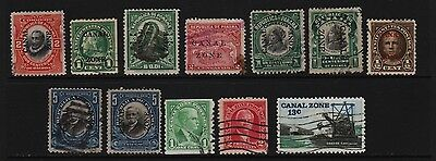 U.S. Canal Zone - 12 old stamps, mostly overprints - Value ?