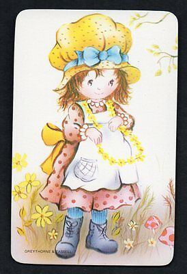 Vintage Blank Back Swap Card : LITTLE GIRL WITH DAISY CHAIN