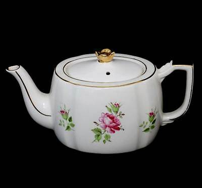 Vintage English china pink rose roses gilded teapot with pretty floral finial