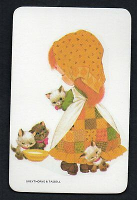 Vintage Blank Back Swap Card : LITTLE GIRL WITH KITTENS