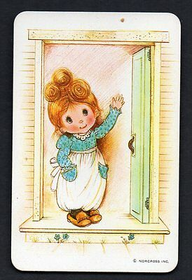 Vintage Blank Back Swap Card : NORCROSS GIRL WAVING AT DOOR