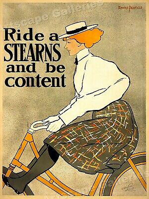 Ride a Stearns Bicycle Woman Cycling 1890s Vintage Style Poster - 20x28