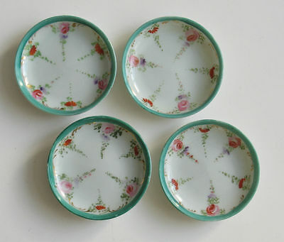 4 Round Butter Pats Teabag Rests White with Green and Floral Pattern 3 inch