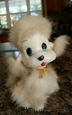"Vintage Norleans Poodle Figurine Real Fur Made In Japan 5"" Tall White"