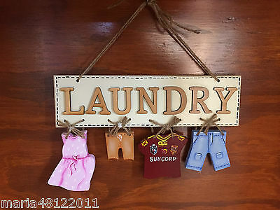 LAUNDRY Sign,with CLOTHES,25cmH x 25cmW x 1.2cmD,Wall,Door,Decorative,Crafts
