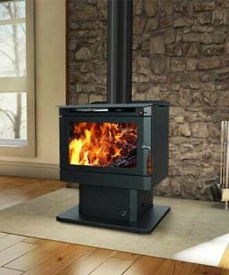 Wood Heater Ecomaxx Classic Pedestal - Metallic Black Fireplace