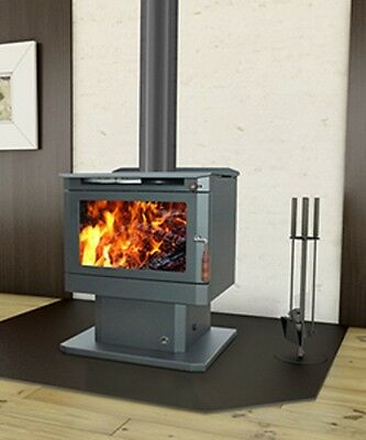 Wood Heater Ecomaxx Classic Pedestal - Metallic Charcoal Fireplace