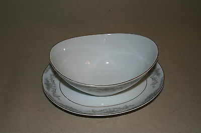 Mikasa Fine China 709 Minuet Gravy Boat With Attached Underplate 40138**