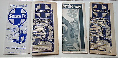 Lot of 4 Old Santa Fe R.R. Timetables/Brochures, 1932-1963