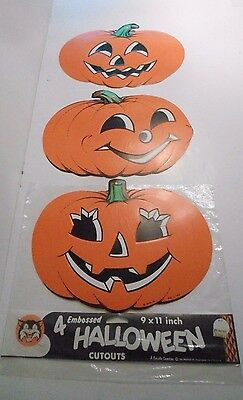 4 Vintage Halloween Decorations Beistle Creation Pumpkin and Black Cat
