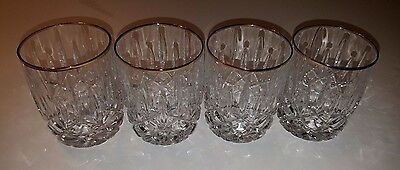 "Gorham Lady Ann Gold Fine Crystal 4 Tumbler Glasses 4"" Tall 3"" Top"