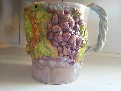 Australian Pottery Una Deerbon Signed Jug with Applied Grapes 1930's 1940's