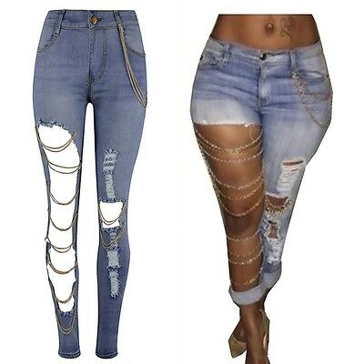 Hot Women Ladies Destroyed Ripped Distressed Chain Denim Pants Boyfriend Jeans