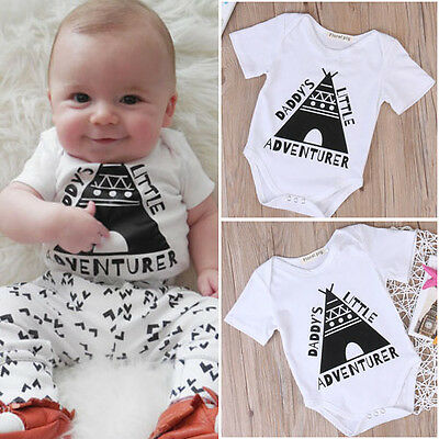 USA Newborn Infant Baby Boys Girls Bodysuit Romper Jumpsuit Clothes Outfits