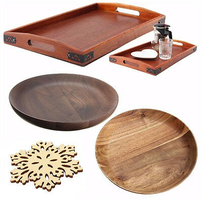 Wood Serving Tray Tea Food Server Dishes Platter Round Rectangle Wooden Plate